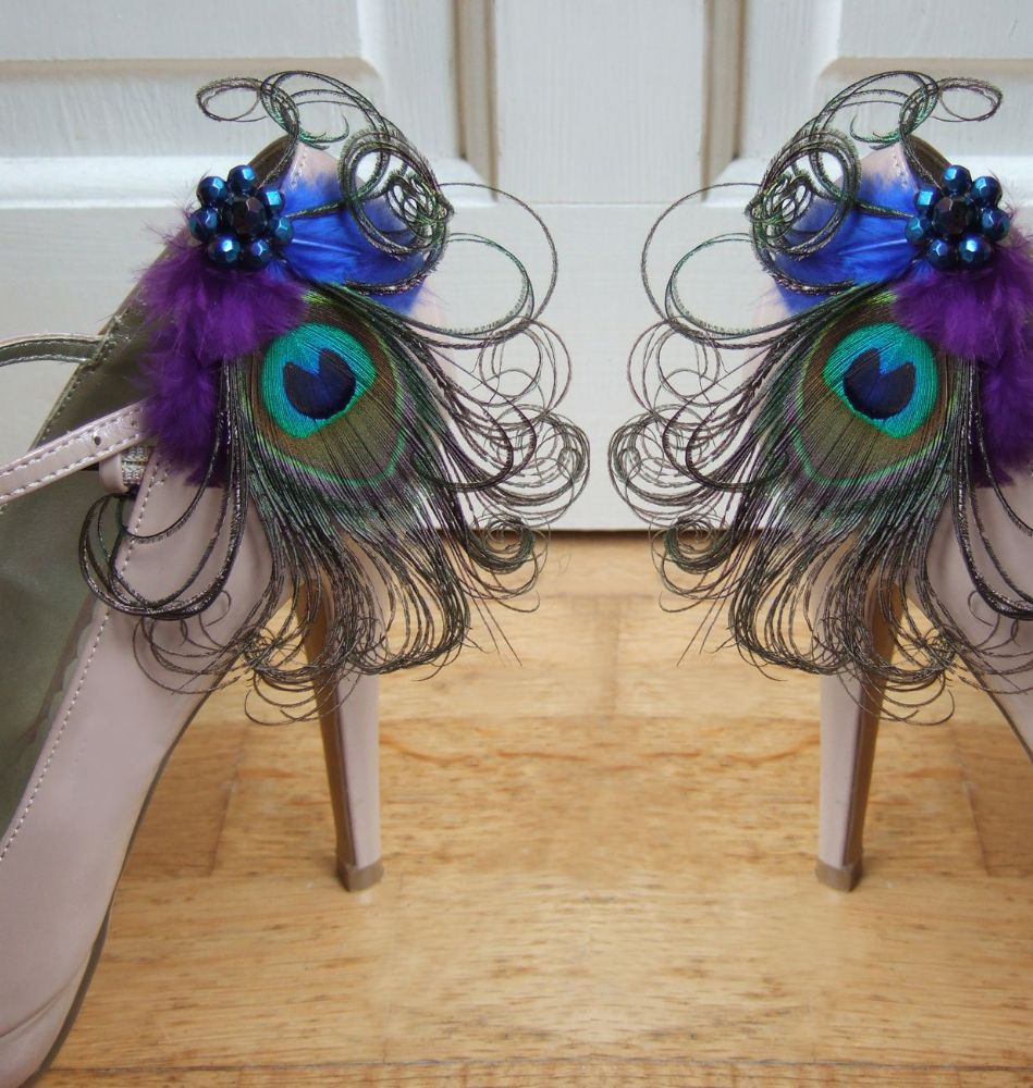 "Bridal Royal Blue Purple and Peacock Feathers ""Allana"" Shoe Clips SCP0508"